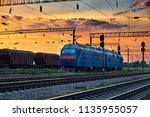 trains and wagons  railroad... | Shutterstock . vector #1135955057