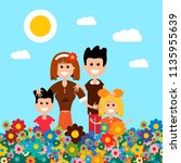 happy family on flower meadow.... | Shutterstock .eps vector #1135955639