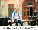 sad and unhappy pupil with...   Shutterstock . vector #1135967711