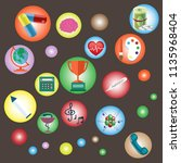 scientific icons on brown... | Shutterstock .eps vector #1135968404