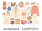 collection of winter knitted... | Shutterstock .eps vector #1135972571