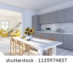 3d rendering of modern kitchen... | Shutterstock . vector #1135974857