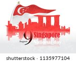 singapore national day... | Shutterstock .eps vector #1135977104