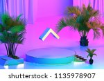 isolated gold icon with plants... | Shutterstock . vector #1135978907