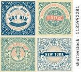 set of 4 old labels | Shutterstock .eps vector #1135992281