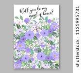 floral violet peony lavander... | Shutterstock .eps vector #1135995731
