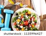 healthy eating  fitness food... | Shutterstock . vector #1135996427
