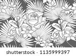 palm tree leaves  roses and... | Shutterstock .eps vector #1135999397