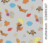 pattern with fox  owl and dog ... | Shutterstock .eps vector #1136001167