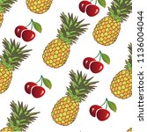 pattern with pineapples and... | Shutterstock .eps vector #1136004044