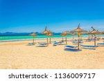 alcudia beach between port d... | Shutterstock . vector #1136009717