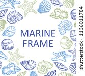 marine frame seashell beach... | Shutterstock . vector #1136011784
