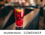 strawberry mojito cocktail with ... | Shutterstock . vector #1136014619
