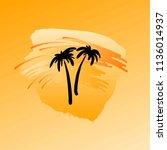 black palms and orange yellow... | Shutterstock .eps vector #1136014937