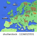 stylized map of europe with... | Shutterstock .eps vector #1136015531