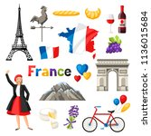 france icons set. french... | Shutterstock .eps vector #1136015684