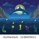 night seascape with the...   Shutterstock .eps vector #1136025611