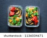 vegetarian lunch box. broccoli  ... | Shutterstock . vector #1136034671