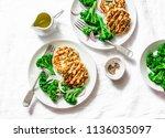 zucchini turkey burgers and... | Shutterstock . vector #1136035097