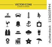 sunny icons set with starfish ...
