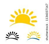 sun and wave logo. travel logo... | Shutterstock .eps vector #1136037167