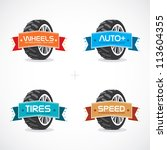Set of Colorful Frames, Stickers, Labels, Icons,, Sign, Button, Symbol, Logo With Wheel Illustration