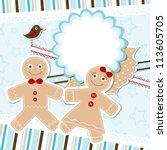 template christmas greeting... | Shutterstock .eps vector #113605705