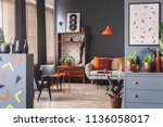 poster with geometric shapes in ...   Shutterstock . vector #1136058017