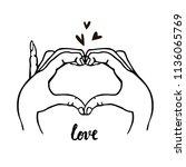 hand drawn heart illustration   ... | Shutterstock .eps vector #1136065769