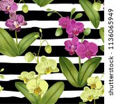 seamless tropical pattern with... | Shutterstock .eps vector #1136065949