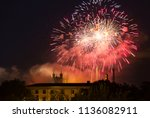 fireworks at cathedral... | Shutterstock . vector #1136082911