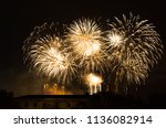 fireworks at cathedral... | Shutterstock . vector #1136082914
