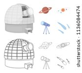 observatory with radio... | Shutterstock . vector #1136084474