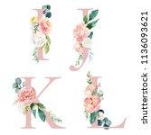 floral alphabet set   letters i ... | Shutterstock . vector #1136093621