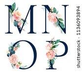floral alphabet set   set of...   Shutterstock . vector #1136093894