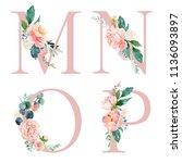 floral alphabet set   letters m ... | Shutterstock . vector #1136093897
