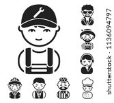 people of different professions ... | Shutterstock . vector #1136094797