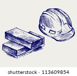 Hard Hat And Bricks. Doodle...