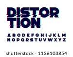 trendy style distorted glitch... | Shutterstock .eps vector #1136103854