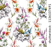 watercolor seamless pattern... | Shutterstock . vector #1136107691