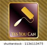 shiny emblem with roller brush ... | Shutterstock .eps vector #1136113475