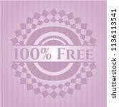 100  free pink emblem. vintage. | Shutterstock .eps vector #1136113541
