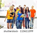group student with notebook on... | Shutterstock . vector #113611399