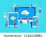 big data. cloud online data.... | Shutterstock .eps vector #1136118881