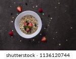 porridge with blueberries ... | Shutterstock . vector #1136120744