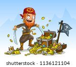 cartoon bearded pirate... | Shutterstock .eps vector #1136121104
