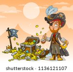 cartoon bearded pirate... | Shutterstock .eps vector #1136121107