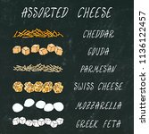 assorted cheese. grated chedder ... | Shutterstock .eps vector #1136122457