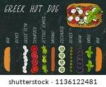 greek hot dog ingredients... | Shutterstock .eps vector #1136122481