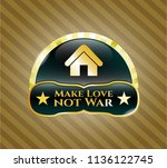 gold emblem with home icon and ... | Shutterstock .eps vector #1136122745